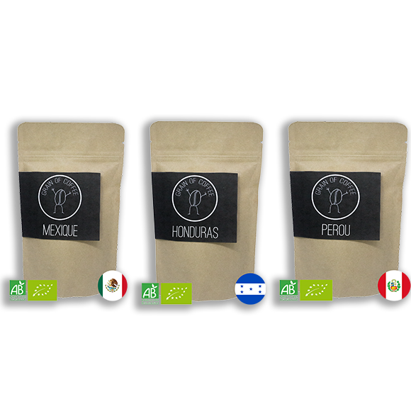 Paquet de café grain of coffee mexique Honduras pérou